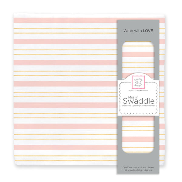 Muslin Swaddle Single - Serenity Stripes Shimmer, Pink