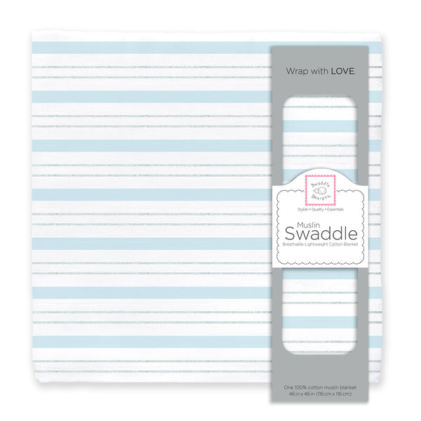 Muslin Swaddle Single - Serenity Stripes Shimmer, Blue
