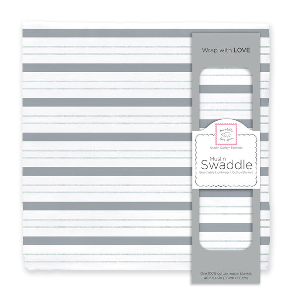 Muslin Swaddle Single -  Serenity Stripes Shimmer, Sterling