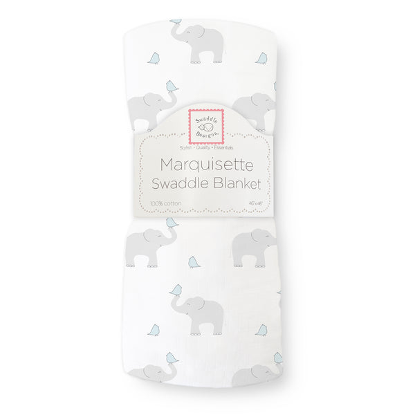 Marquisette Swaddle Blanket - Elephant & Chickies, Pastel Blue