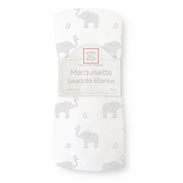 Marquisette Swaddle Blanket - Elephant & Chickies, Pastel Pink