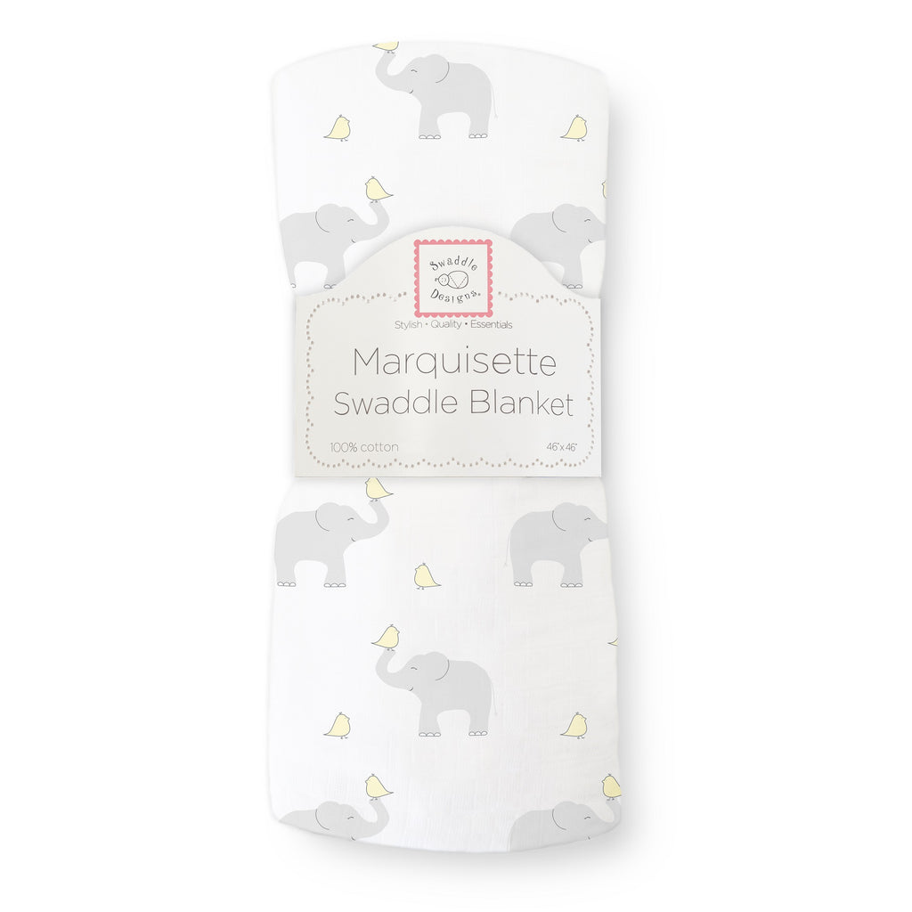 Marquisette Swaddle Blanket - Elephant & Chickies, Yellow, Pastel Yellow
