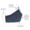 Adult Cloth Face Mask, 3-Layer Cotton Chambray, Denim, 100 Pack