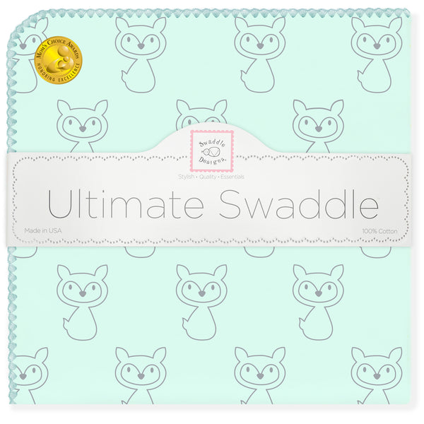 Ultimate Swaddle Blanket - Gray Fox, SeaCrystal with SeaCrystal Trim