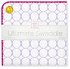Ultimate Swaddle Blanket - Mod Circles on White, Lavender with Very Berry Trim