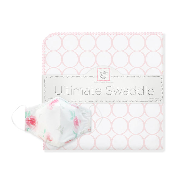 Ultimate Swaddle Mod Circles and 2-Layer Cotton Watercolor Face Mask Set - Pink