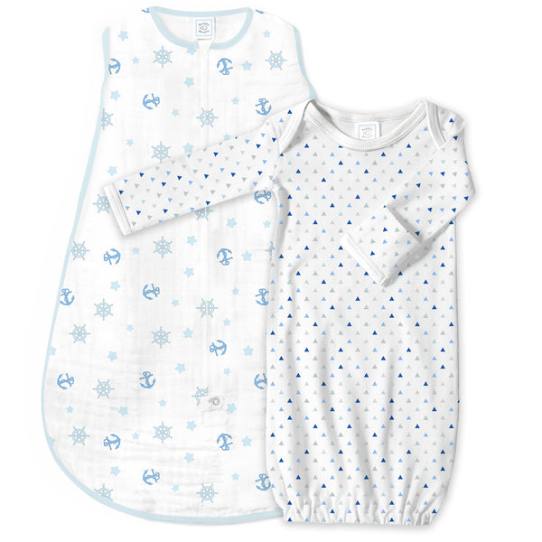 Muslin zzZipMe Sack Set - Ahoy! + Tiny Triangles Shimmer, Pastel Blue