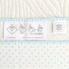 Ultimate Swaddle Blanket - Mod Circles on White, Pastel Blue with True Blue Trim