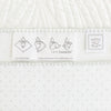 Ultimate Swaddle Blanket - Mod Circles on White, Sterling with True Blue Trim