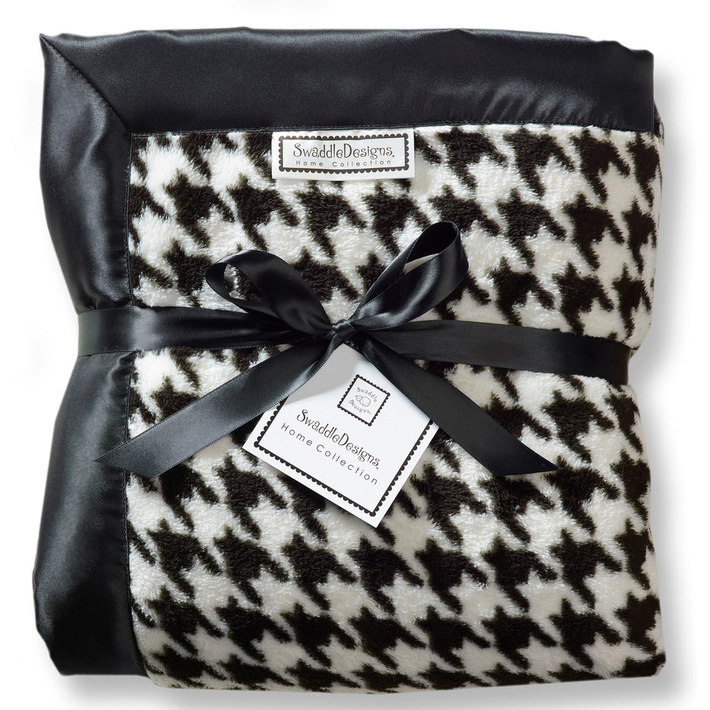 Adult Luxury Throw - Puppytooth, Black - Customized