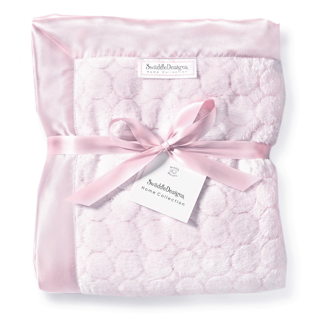 Adult Luxury Throw - Puff Circle, Pastel Pink - Customized