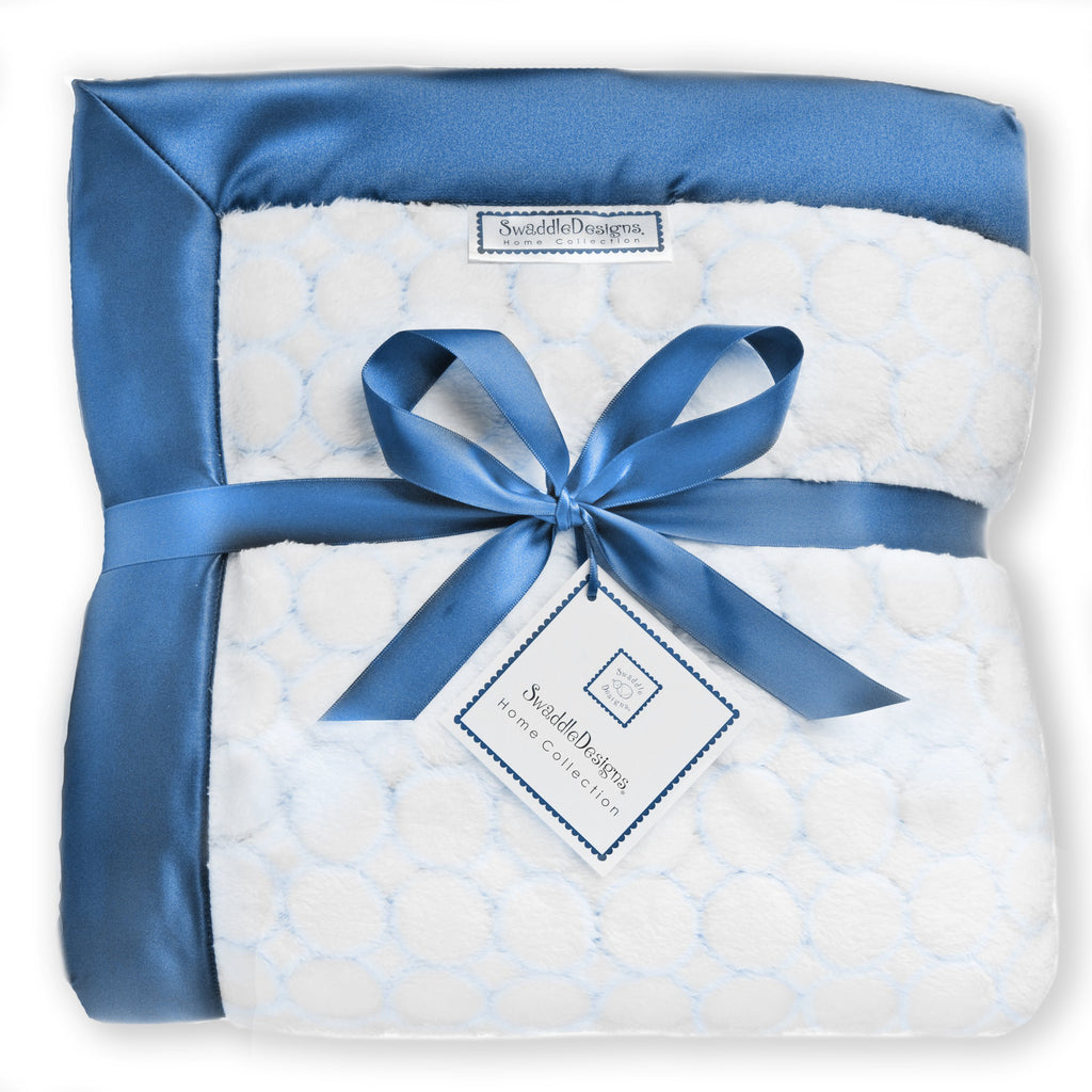 Adult Luxury Throw - Ivory Puff with Jewel Trim, True Blue - Customized