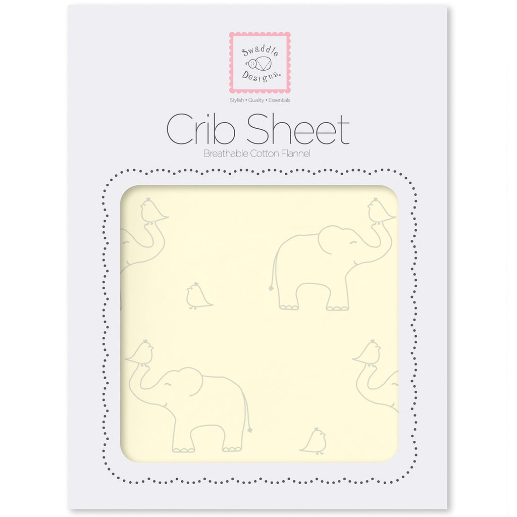 Flannel Fitted Crib Sheet - Sterling Deco Elephants