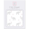 Flannel Fitted Crib Sheet - Elephant & Chickies