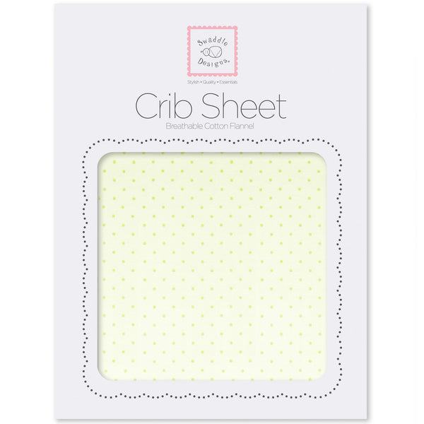 Fitted Flannel Crib Sheet - Fresh Pastel Polka Dot