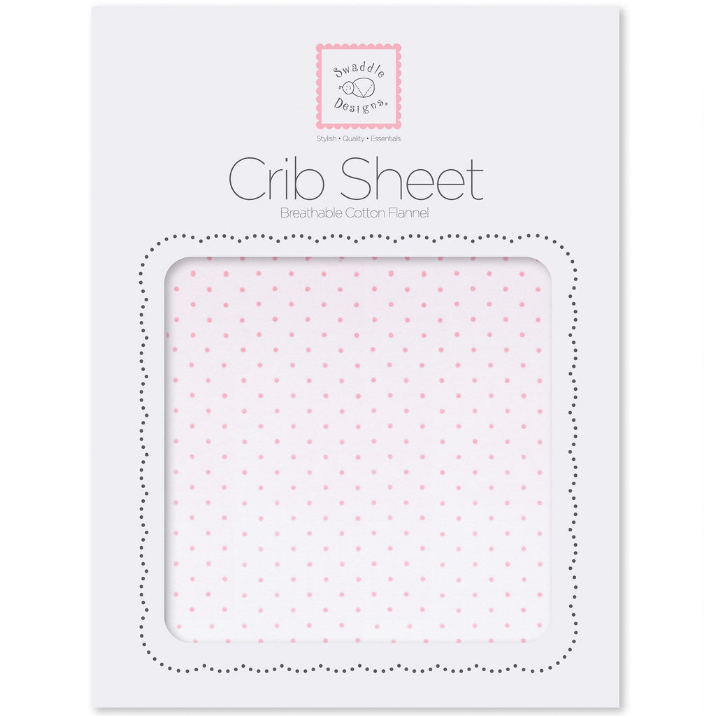 Flannel Fitted Crib Sheet - Fresh Pastel Polka Dot, Pastel Pink