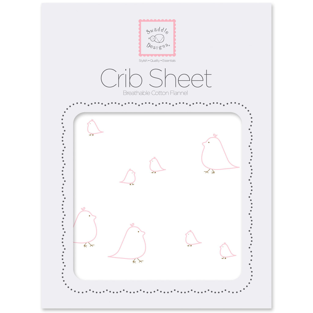 Flannel Fitted Crib Sheet - Mama & Baby Chickies, Pink