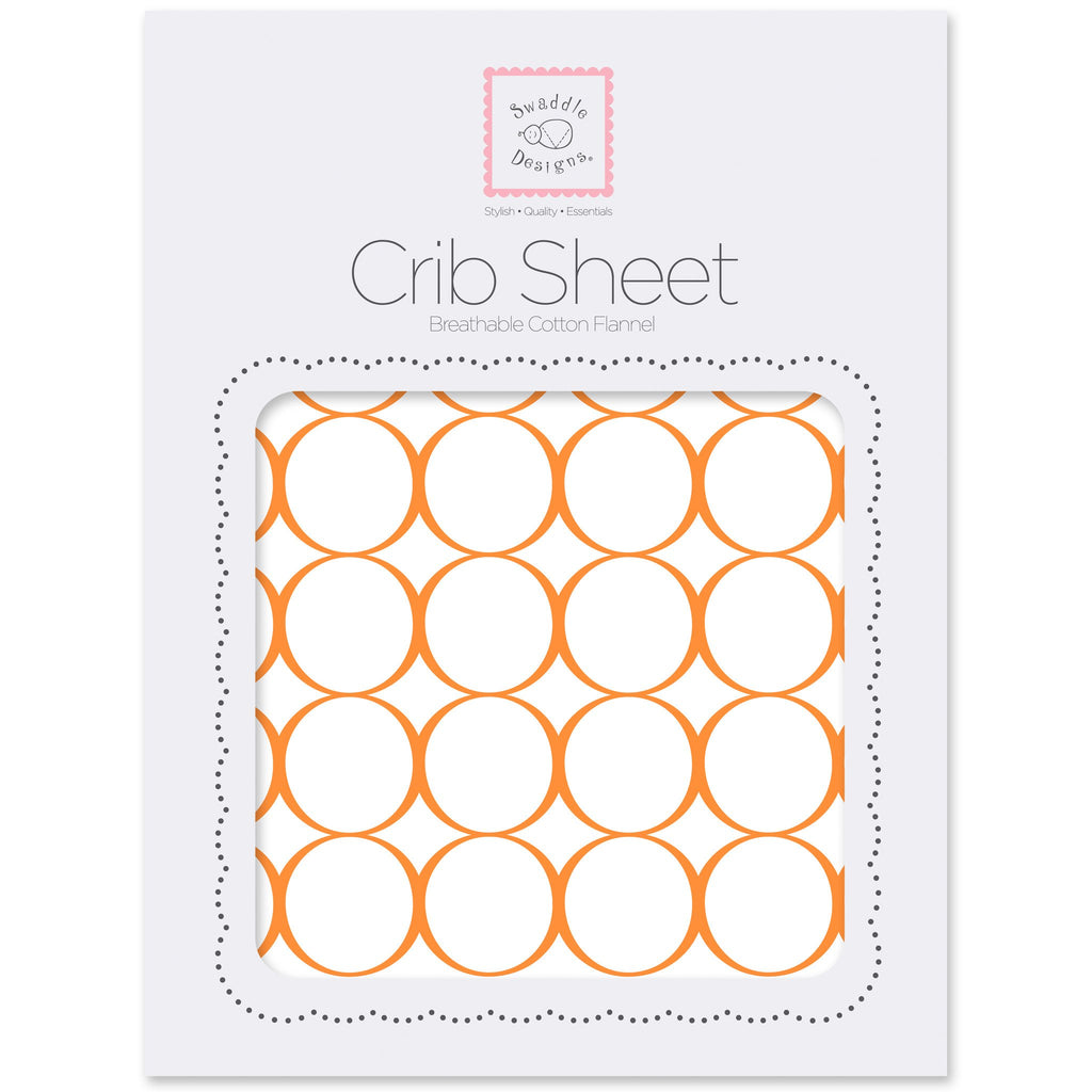 Flannel Fitted Crib Sheet - Mod Circles on White, Orange