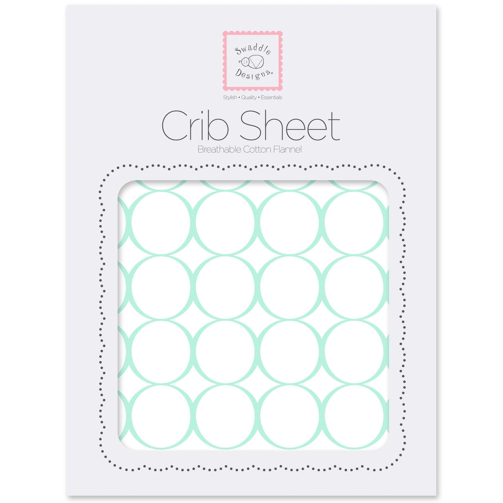 Fitted Flannel Crib Sheet - Mod Circles on White