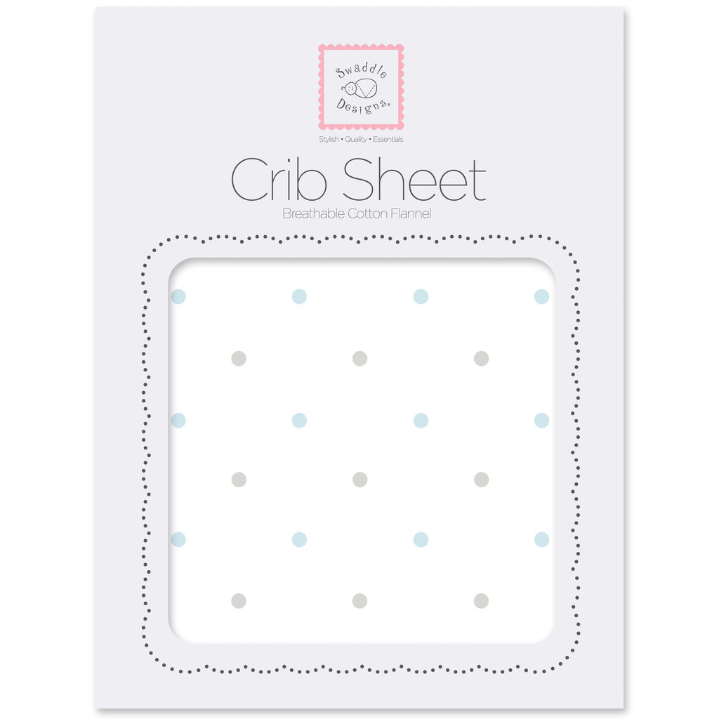 Flannel Fitted Crib Sheet - Pastel & Sterling Little Dots