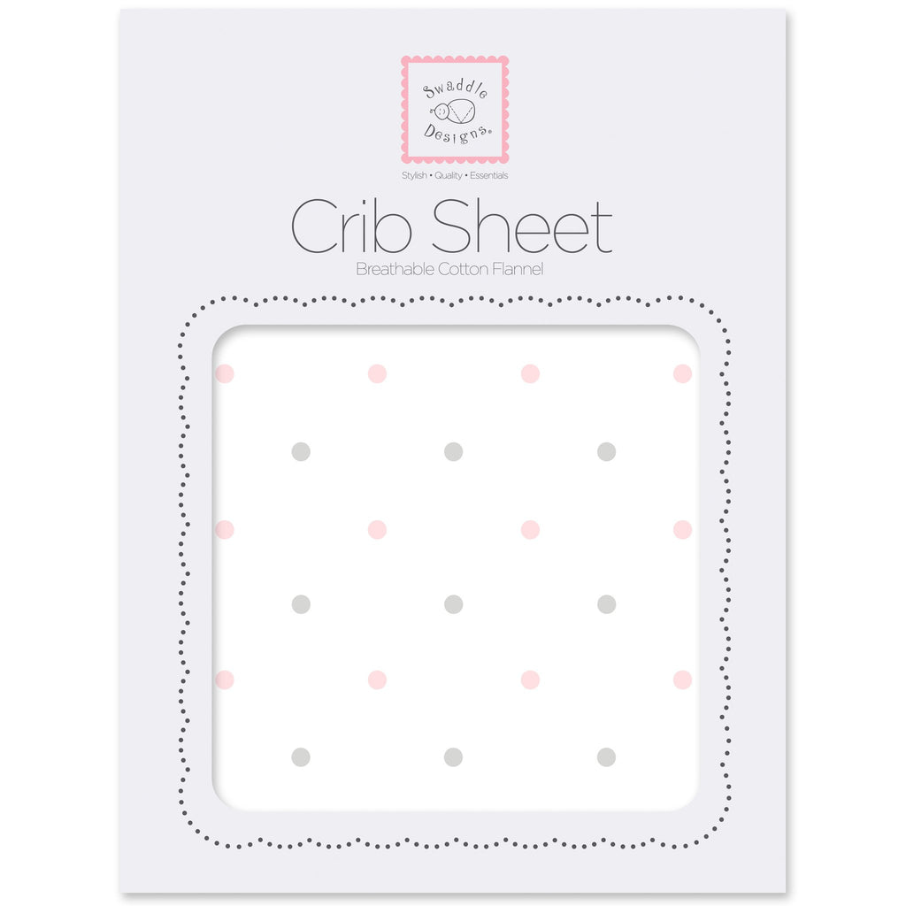 Flannel Fitted Crib Sheet - Pastel & Sterling Little Dots, Pastel Pink
