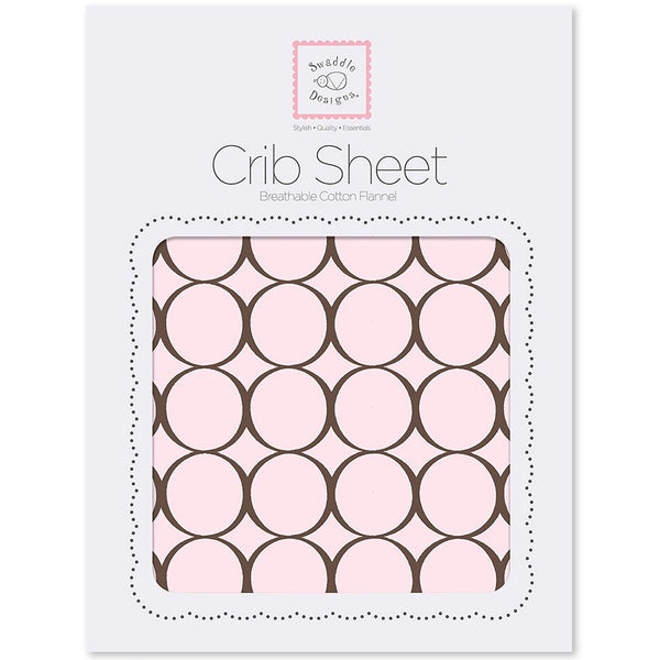 Fitted Flannel Crib Sheet - Brown Mod Circles