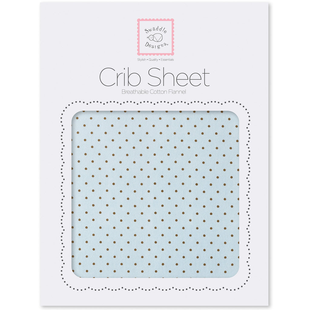 Fitted Flannel Crib Sheet - Brown Polka Dots