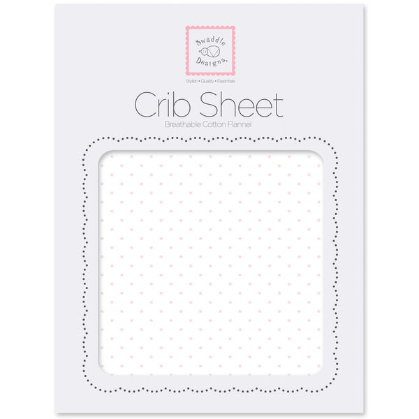 Flannel Fitted Crib Sheet - Polka Dots, Pastel Pink