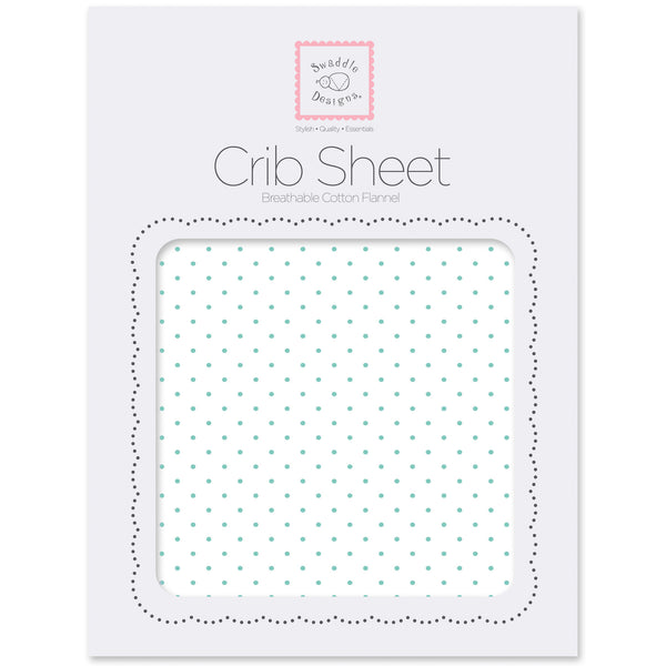 Flannel Fitted Crib Sheet - Polka Dots, SeaCrystal