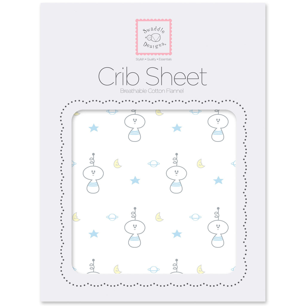 Flannel Fitted Crib Sheet - Spaceman