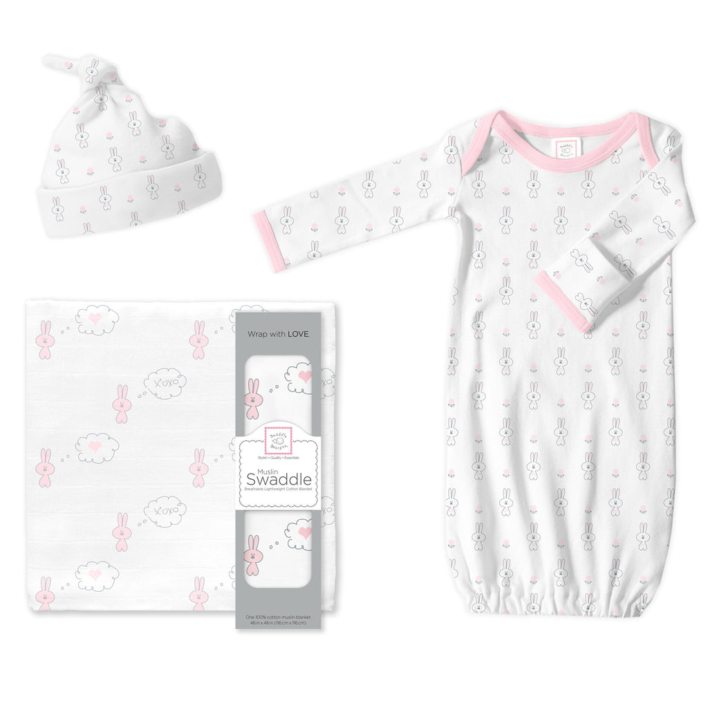 Muslin Swaddle, Gown and Hat - Gift Set