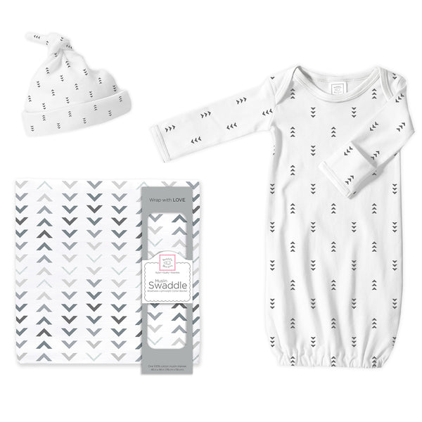 Muslin Swaddle, Gown and Hat Gift Set - Arrows, Sterling, Newborn