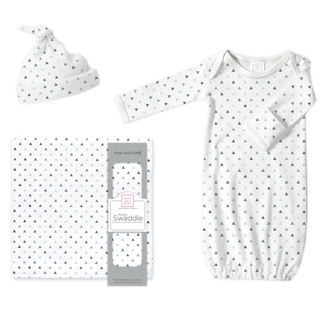 Muslin Swaddle, Gown and Hat Gift Set - Tiny Triangles, Sterling, Newborn