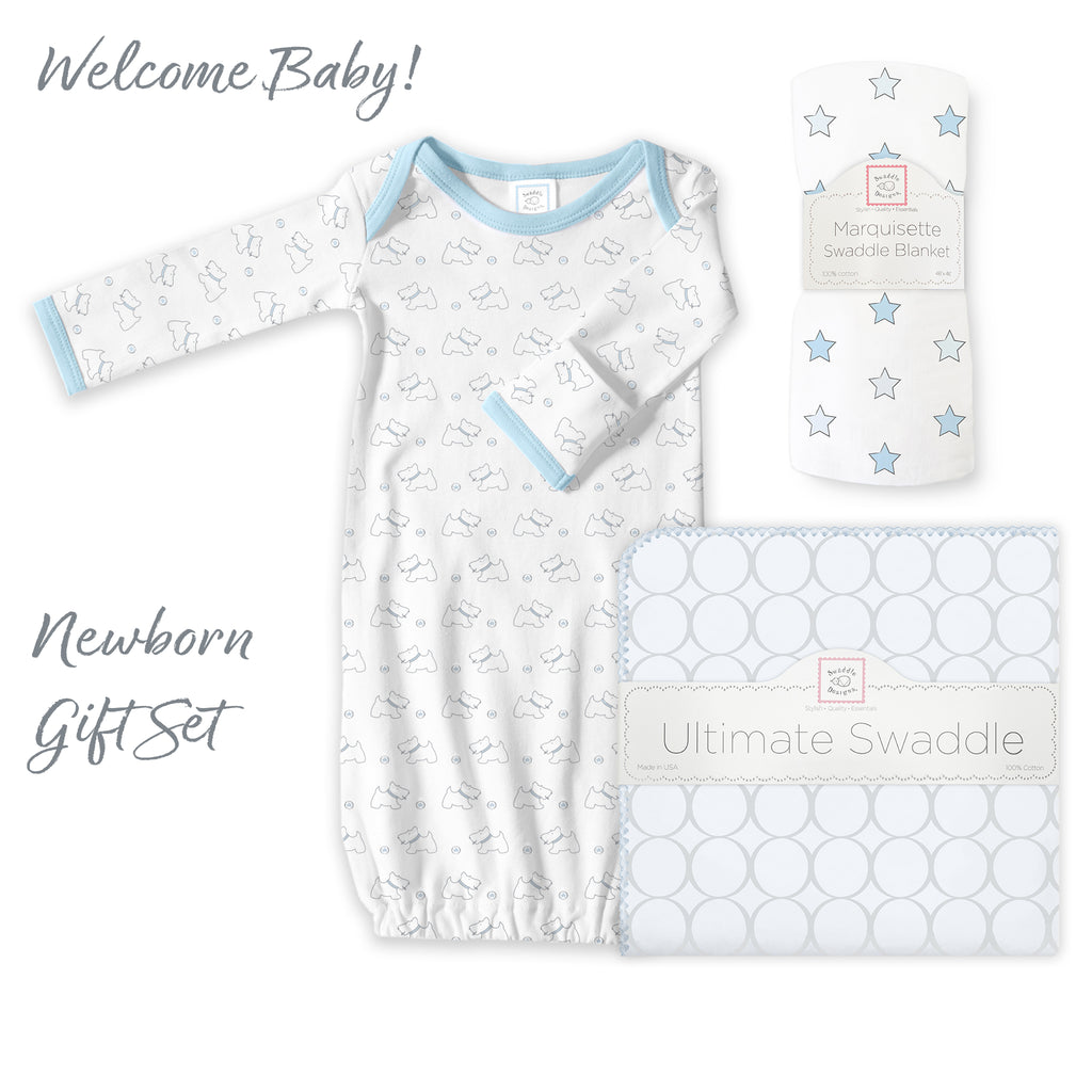 Newborn Gift Set - Ultimate, Marquisette Swaddle, Gown Gift Set, Pastel Blue