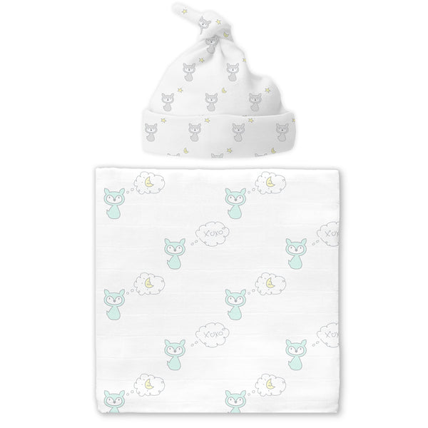 Muslin Swaddle Blanket and Hat - Gift Set