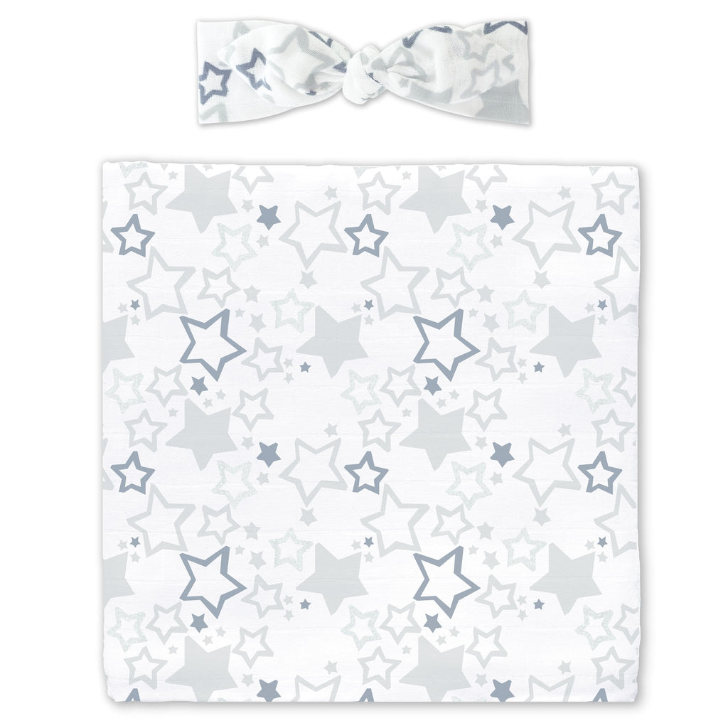 Muslin Swaddle Blanket + Muslin Headband Gift Set