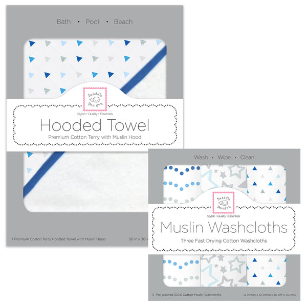 Muslin + Terry Hooded Towel and Washcloth Set - Tiny Triangles, Blue