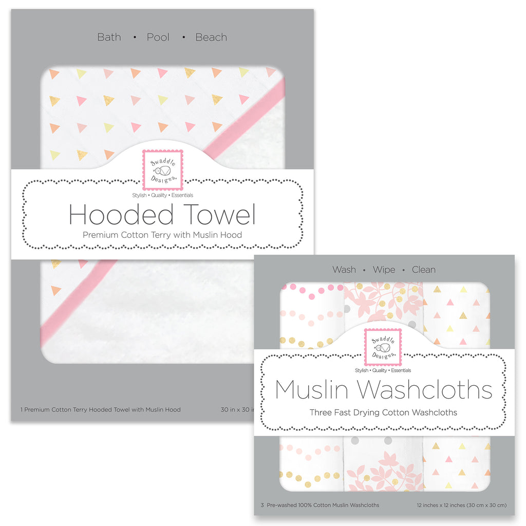 Muslin + Terry Hooded Towel and Washcloth Set - Tiny Triangles, Pink