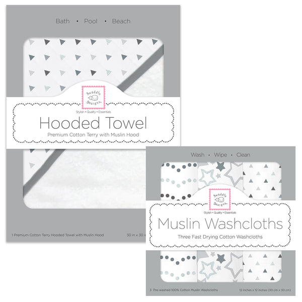 Muslin + Terry Hooded Towel and Washcloth Set - Tiny Triangles, Sterling