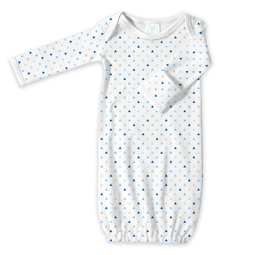 Cotton Knit Gown - Tiny Triangles Shimmer, Blue