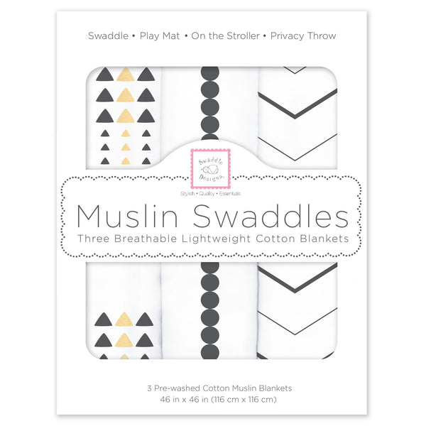 Muslin Swaddle Blankets - Gold & Graphite with Shimmer (Set of 3)