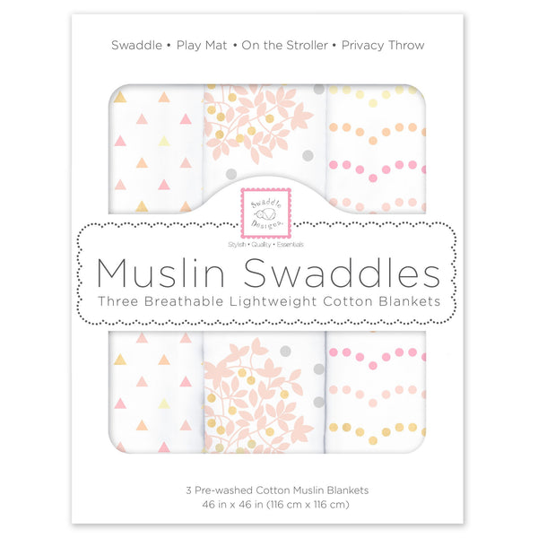 Muslin Swaddle Blankets - Heavenly Floral Shimmer (Set of 3)