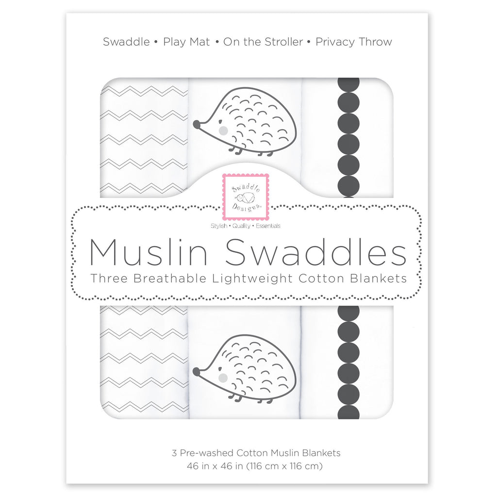 Muslin Swaddle Blankets - Hedgehog & Bumpkin (Set of 3)