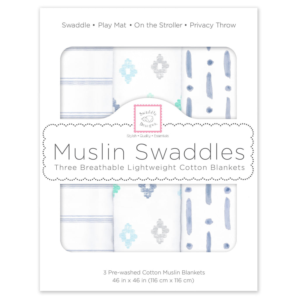 Muslin Swaddle Blankets - Indigo Denim (Set of 3)