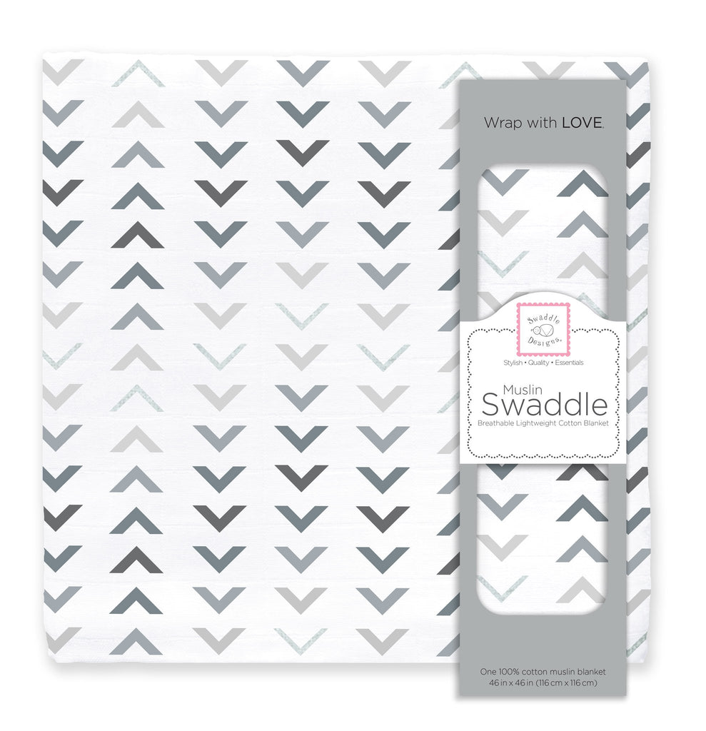 Muslin Swaddle Single - Sterling Arrows with Shimmer