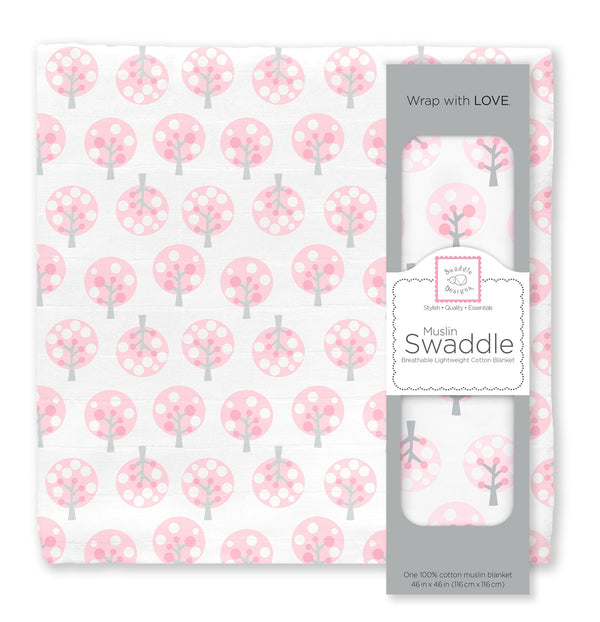 Muslin Swaddle Single - Cherry Trees