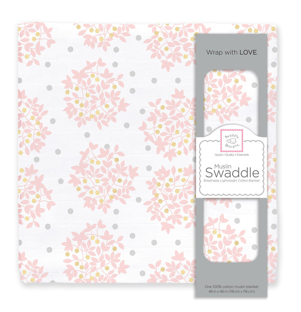 Muslin Swaddle Single - Heavenly Floral Shimmer, Pink
