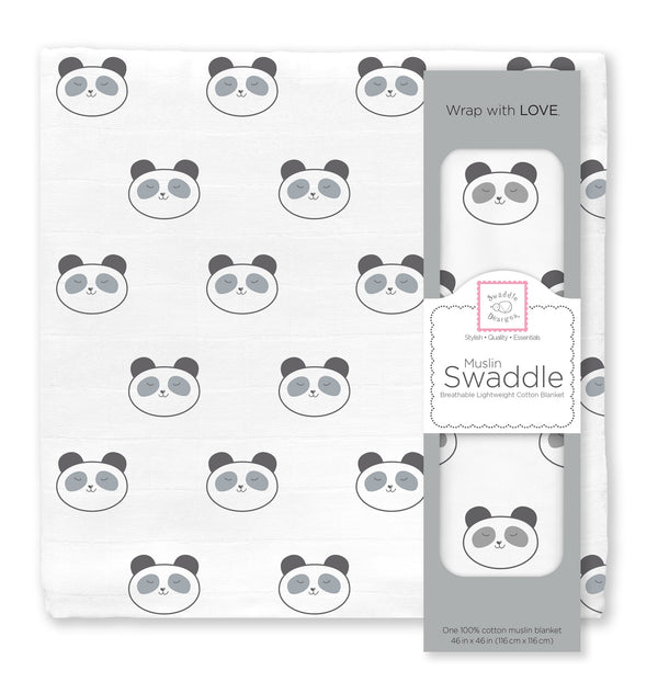 Muslin Swaddle Single - Panda Singles