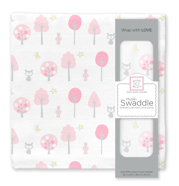 Muslin Swaddle Single - Pink Thicket Single