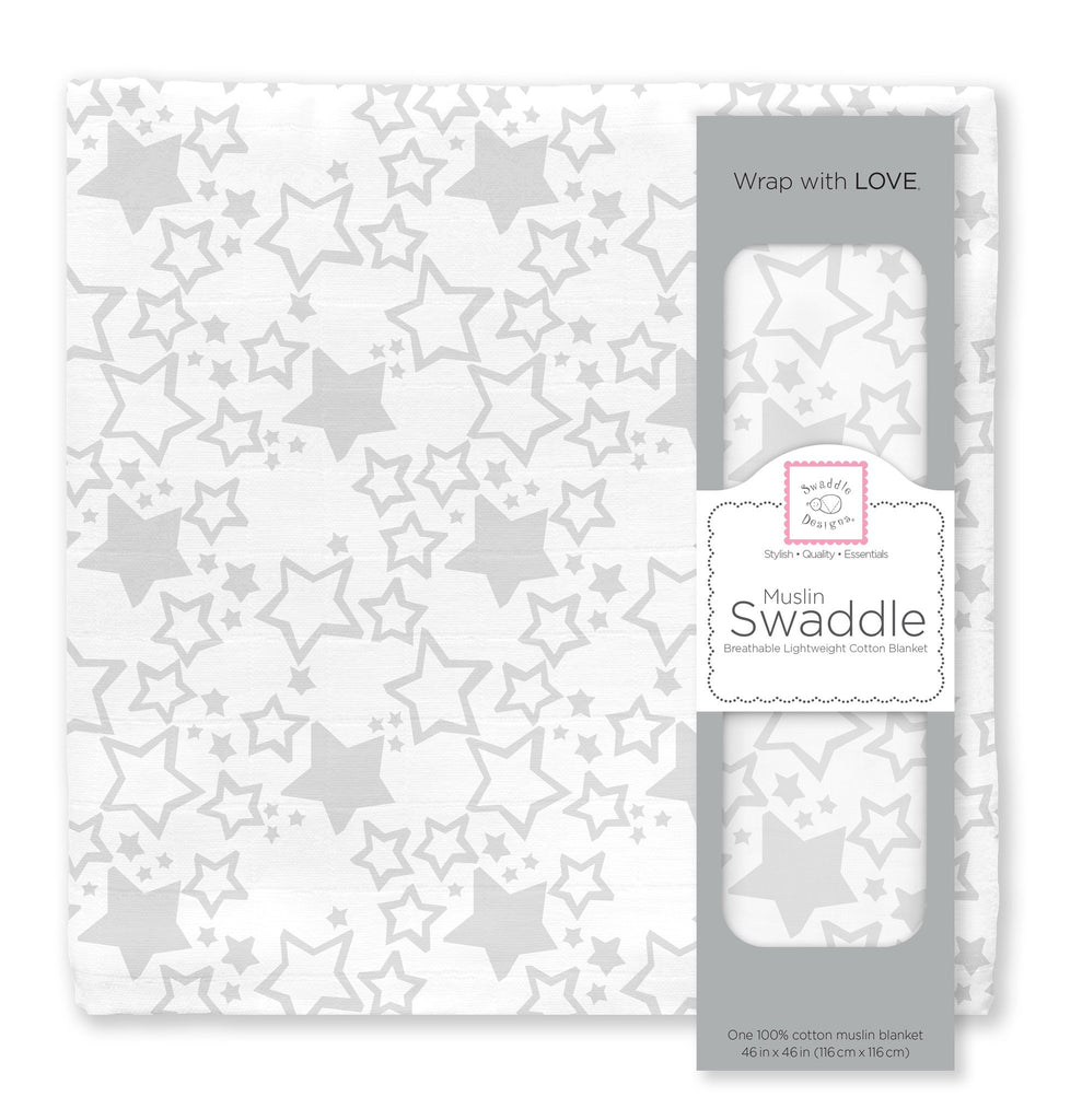 Muslin Swaddle Single - Sterling Starshine Single